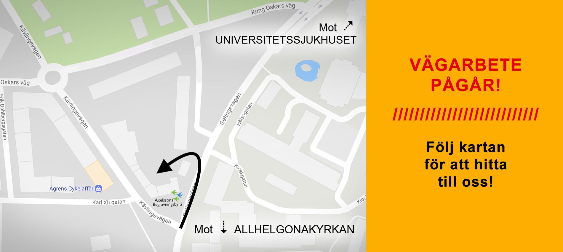 Axelssons Begravningsbyrå Lund - Vägarbete pågår i Lund - Karta till vårt huvudkontor i Lund